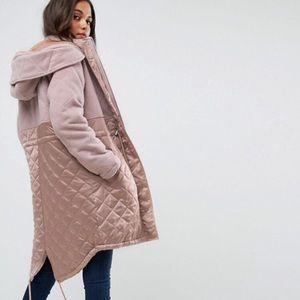 ISO ASOS Parka in Mixed Fabrics